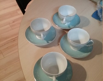Set of 4 blue and white tea cups