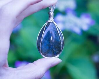 Labradorite pendant wire wrapped in non-tarnish silver settig