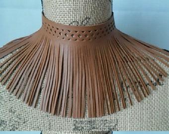 Faux Leather Fringe Choker