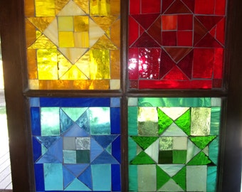 Quilt mosaic stain glass window