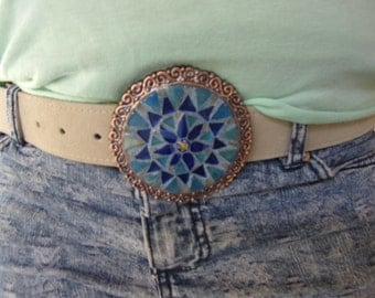 Stain glass mosaic belt buckle