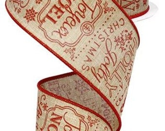 """2.5""""X10yd Christmas Sayings Light Beige/Red"""