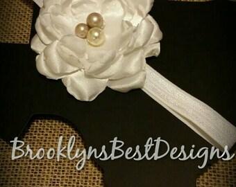 White Silk flower headband