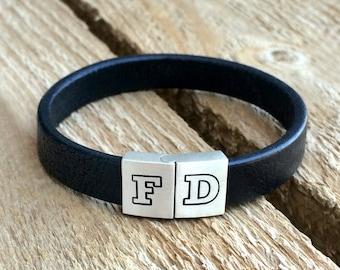 Initial cuff bracelet, initial leather bracelet, initial bracelet, Two letter bracelet, custom leather bracelet, custom leather cuff