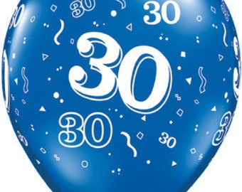 """6 x 11""""  30th  Latex Balloons in Sapphire Blue by Qualatex Adult's Birthday"""