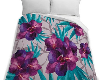 Tropical Flowers King Size Duvet Cover