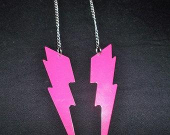 Hot Pink Lightening Bolt Earrings
