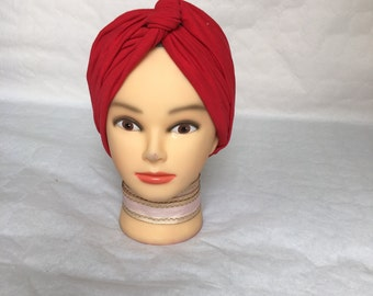 turban, bonnet chemo 2 in 1 red