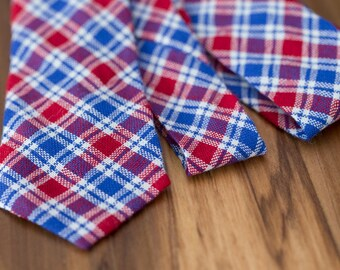 Red and Blue Gingham Cotton Tie