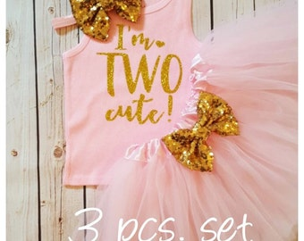 Pink and Gold 2nd birthday outfit,second birthday outfit,2nd birthday girl outfit,pink birthday tutu,pink tutu,girl birthday outfit