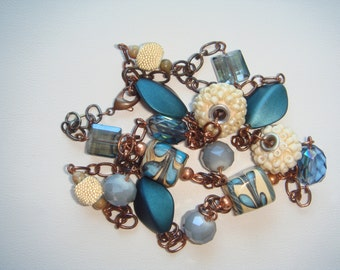 Blue and tan beaded necklace