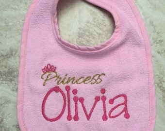 Princess personalized bib embroidered