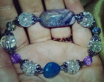 Quartz and Beaded Glass Bracelet Set