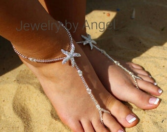 Starfish Foot Jewelry Sandal Anklet Crystal Wedding Foot Jewelry Slave Anklet Starfish Foot Thong  Crystal Bridal Barefoot Bridesmaid Gift