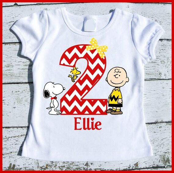 Custom Personalized Girl Charlie brown Woodstock Snoopy Birthday tee shirt
