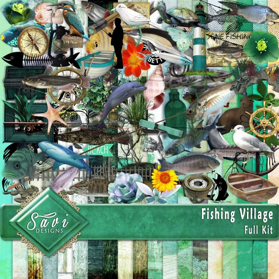 Digital Scrapbooking Kit FISHING VILLAGE Fish, nautical, boats, beach, summer, fishing for Scrap Pages