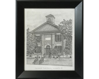 "Framed Lawrenceville Female Seminary Drawing - Original Drawing in Graphite 8""x10"""