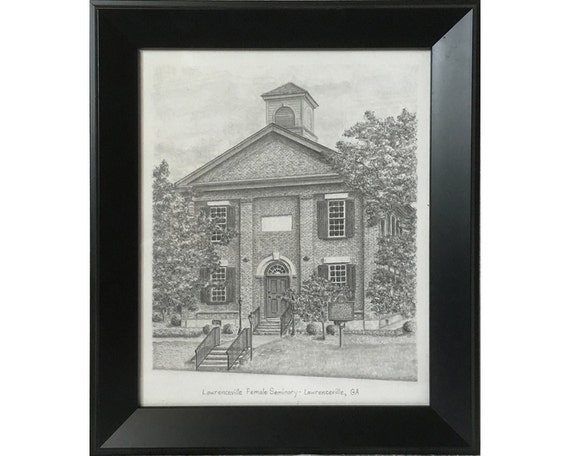 Framed Lawrenceville Female Seminary Drawing By