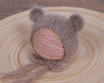 Newborn Fuzzy Teddy Bear Bonnet - 6 months - Ready To Ship - Photo Prop
