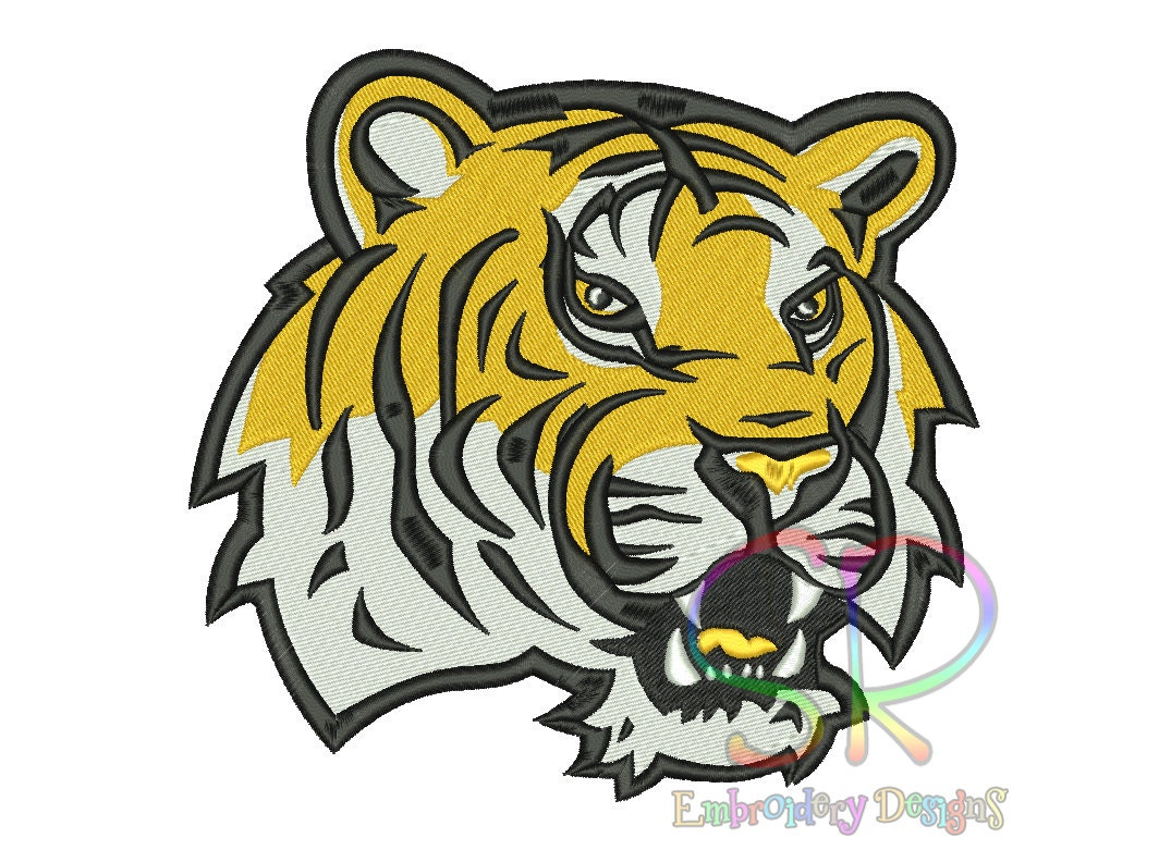 7 Size LSU Tigers Embroidery Designs College Football Logo