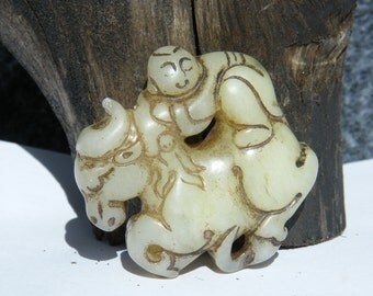 Chinese Carved Unknown Hardstone Waist Pendant Statue Boy on Buffalo