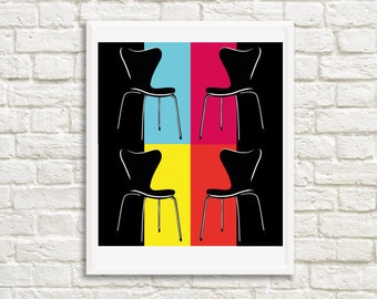 Retro Art Poster,  Art Decor, Chairs, Mid Century Modern, 1960s furniture. Printable Wall Art.