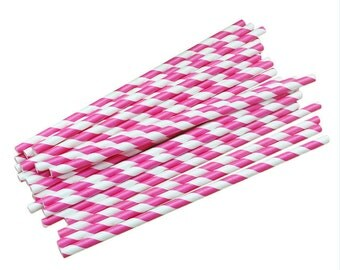 Colourful Hot Pink Paper Drink Straws