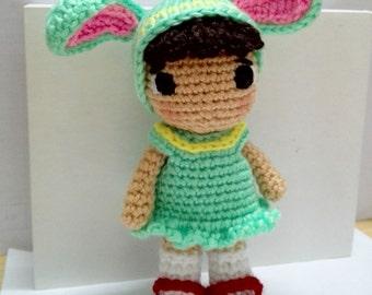 Handmade Crochet Soft Stuffed Toy Doll Girl