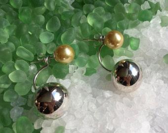 Ear Jackets/pearl/Stud earrings/Pearl stud earrings/sterling studs/double stud earrings/large ball stud earrings / large sterling ball studs