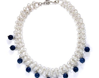 Solid Sterling Silver and blue stone necklace