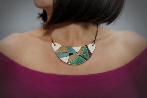 Unique Ceramic necklace ANTIQUE