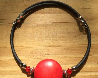 Easy to put on, red bead memory wire bracelet