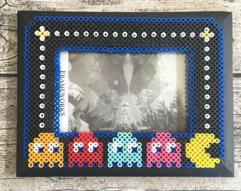 Retro 8 Bit Pac Man Perler Bead Picture Frame