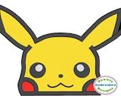 Pikachu Pokemon Inspired Peeker Machine Embroidery Appliqué Design 5x7