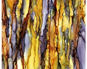 """Alcohol Ink ART PRINT, 12""""x18"""", Golden Marble Abstract, Art Print, Abstract Wall Art, Wall Decor"""
