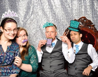 Wooden Photo Booth Prop Glitter Top Hat