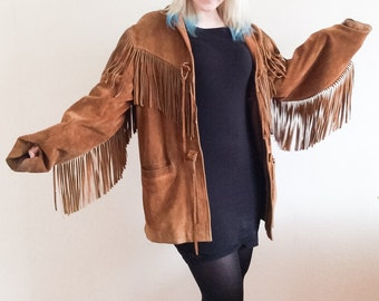 Beautiful brown vintage suede leather tassel jacket