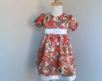 Girls Puff Sleeve Satin Dress - Size 2 - Girls Floral Dress - Special Occasion Dress - READY TO SHIP
