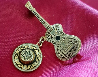 Vintage Gold Tone Spanish/Mexican Guitar and Sombrero Brooch