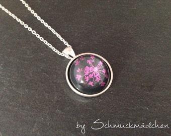 Chain Silver Flower Pink
