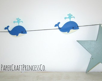 Whale Garland - Paper Garland, Party Decor, Bridal Shower Decor, Baby Shower, Baby Room, Home Decor