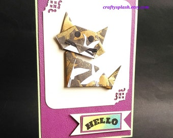 Origami Greeting card, Cat Origami cards,