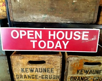 Vintage Red Open House Sign
