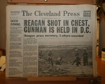 The Cleveland Press Newspaper - Reagan Shot - March 30, 1981
