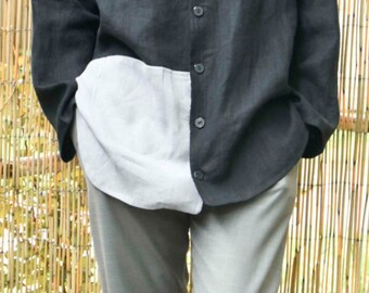 two-tone linen jacket
