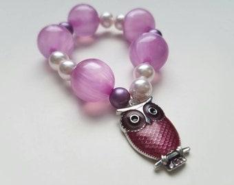 Pink Owl Beaded Bracelet