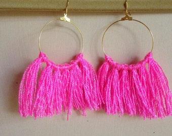 Hot Pink Fringe Hoops