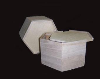 2 pc Hexagonal wood boxes