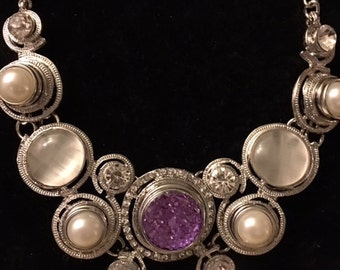 Beautiful Snap Necklace  with Purple and Pearl Snaps