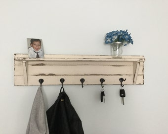 Distressed Coat Rack with shelf